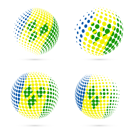 St. Vincent halftone flag set patriotic vector design. 3D halftone sphere in St. Vincent national flag colors isolated on white background.