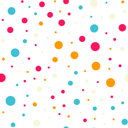 Colorful polka dots seamless pattern on black 18 background. Graceful classic colorful polka dots textile pattern. Seamless scattered confetti fall chaotic decor. Abstract vector illustration.