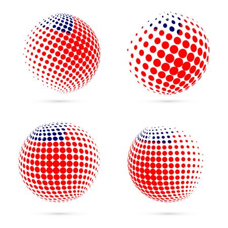 Samoa halftone flag set patriotic vector design. 3D halftone sphere in Samoa national flag colors isolated on white background.