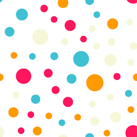 Colorful polka dots seamless pattern on black 18 background. Pleasing classic colorful polka dots textile pattern. Seamless scattered confetti fall chaotic decor. Abstract vector illustration. Illustration