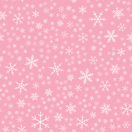 White snowflakes seamless pattern on pink Christmas background. Chaotic scattered white snowflakes. Rare Christmas creative pattern. Vector illustration. 矢量图像