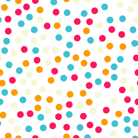 Colorful polka dots seamless pattern on black 18 background. Splendid classic colorful polka dots textile pattern. Seamless scattered confetti fall chaotic decor. Abstract vector illustration. Ilustrace