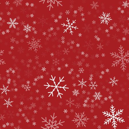 vector white snowflakes seamless pattern on red christmas background chaotic scattered white snowflakes awesome christmas creative pattern - Red Christmas Background