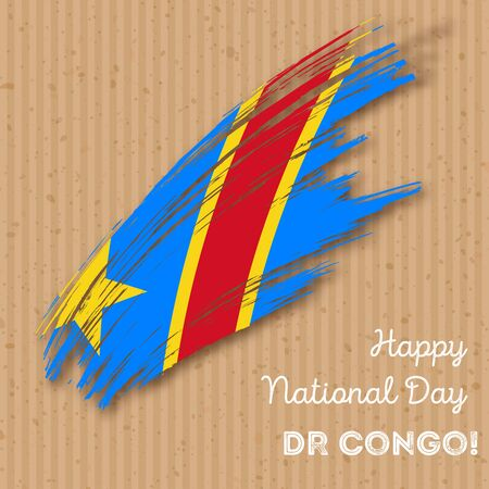 DR Congo Independence Day Patriotic Design. Expressive Brush Stroke in National Flag Colors on craft paper background. Happy Independence Day DR Congo Vector Greeting Card.