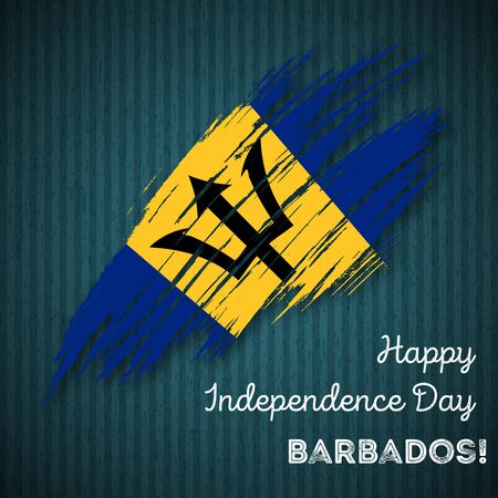 Barbados Independence Day Patriotic Design. Expressive Brush Stroke in National Flag Colors on dark striped background. Happy Independence Day Barbados Vector Greeting Card.