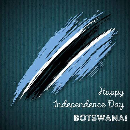 Botswana Independence Day Patriotic Design. Expressive Brush Stroke in National Flag Colors on dark striped background. Happy Independence Day Botswana Vector Greeting Card.