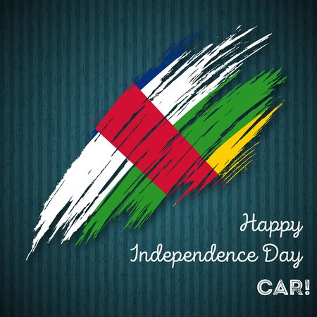 CAR Independence Day Patriotic Design. Expressive Brush Stroke in National Flag Colors on dark striped background. Happy Independence Day CAR Vector Greeting Card.