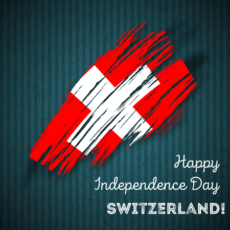 Switzerland Independence Day Patriotic Design. Expressive Brush Stroke in National Flag Colors on dark striped background. Happy Independence Day Switzerland Vector Greeting Card.