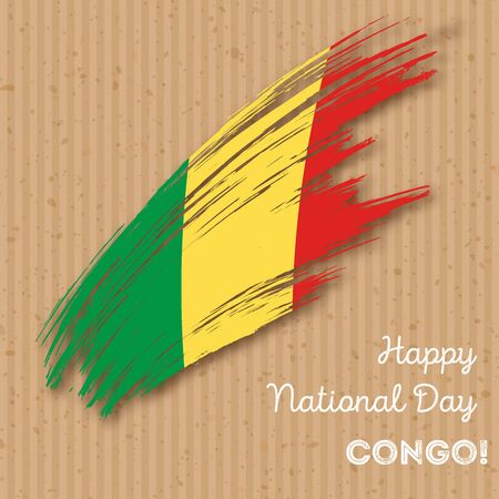 Congo Independence Day Patriotic Design Expressive Brush Stroke - Congo independence day