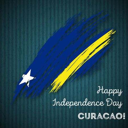 Curacao Independence Day Patriotic Design. Expressive Brush Stroke in National Flag Colors on dark striped background. Happy Independence Day Curacao Vector Greeting Card.