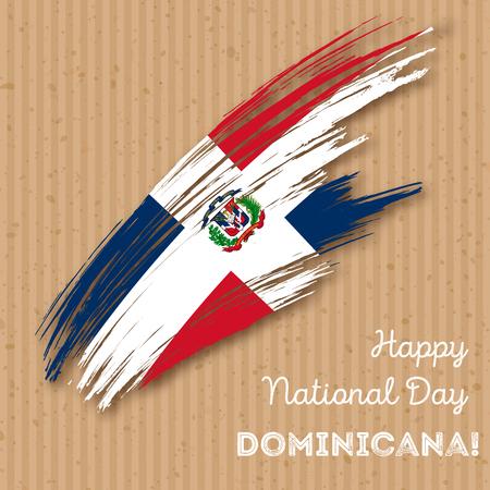 Dominicana-Unabhängigkeitstag-patriotischer Entwurf. Ausdrucksvoller Pinselstrich in den Nationalflagge-Farben auf Kraftpapierhintergrund. Glückliche Unabhängigkeitstag-Dominicana-Vektor-Gruß-Karte.