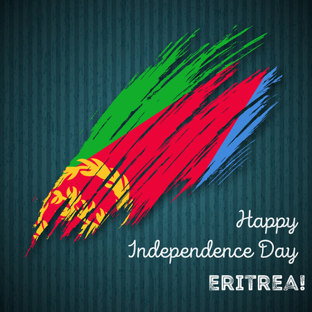 Eritrea Independence Day Patriotic Design. Expressive Brush Stroke in National Flag Colors on dark striped background. Happy Independence Day Eritrea Vector Greeting Card.