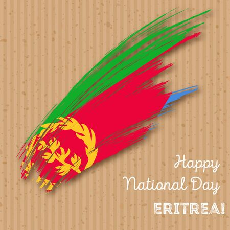 Eritrea Independence Day Patriotic Design. Expressive Brush Stroke in National Flag Colors on kraft paper background. Happy Independence Day Eritrea Vector Greeting Card. Illustration