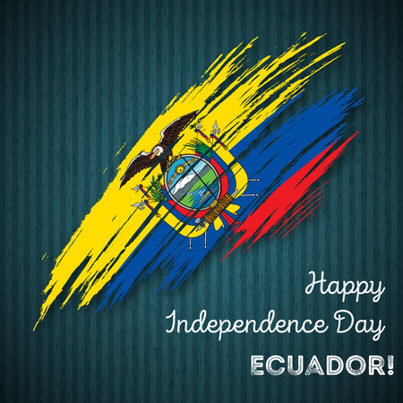 Ecuador Independence Day Patriotic Design. Expressive Brush Stroke in National Flag Colors on dark striped background. Happy Independence Day Ecuador Vector Greeting Card.