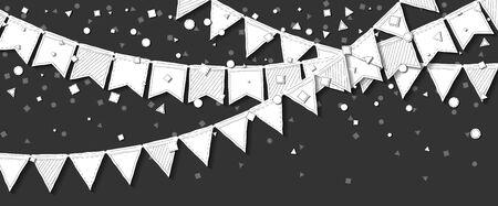 Cartolina di partito cartolina di celebrazione creativa con bandiere bianche e cartolina di partito di carta raster bianche su sfondo di partito di stile di invito con carta illustrativo . Illustrazione vettoriale