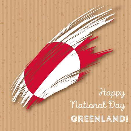 Greenland Independence Day Patriotic Design. Expressive Brush Stroke in National Flag Colors on kraft paper background. Happy Independence Day Greenland Vector Greeting Card.