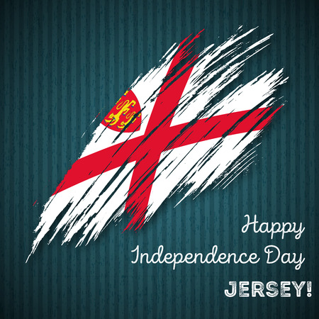 Jersey Independence Day Patriotic Design. Expressive Brush Stroke in National Flag Colors on dark striped background. Happy Independence Day Jersey Vector Greeting Card.