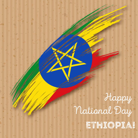 national flag ethiopia: Ethiopia Independence Day Patriotic Design. Expressive Brush Stroke in National Flag Colors on kraft paper background. Happy Independence Day Ethiopia Vector Greeting Card.