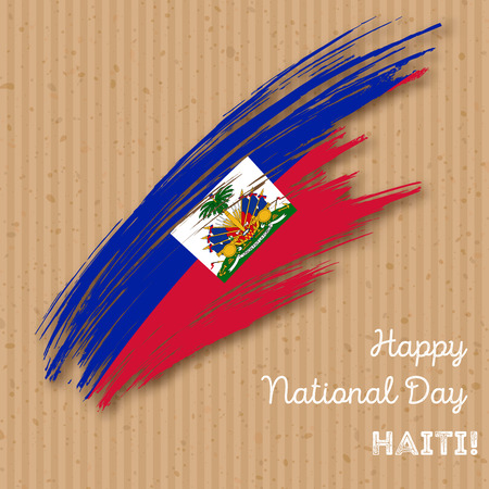 Haiti Independence Day Patriotic Design. Expressive Brush Stroke in National Flag Colors on kraft paper background. Happy Independence Day Haiti Vector Greeting Card.
