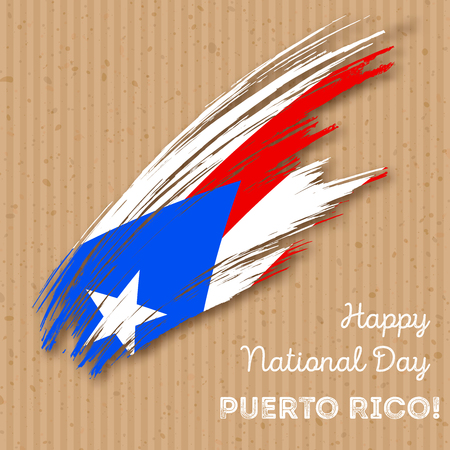 Puerto Rico Independence Day Patriotic Design. Expressive Brush Stroke in National Flag Colors on kraft paper background. Happy Independence Day Puerto Rico Vector Greeting Card. 矢量图像