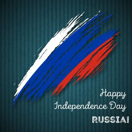 Russia Independence Day Patriotic Design. Expressive Brush Stroke in National Flag Colors on dark striped background. Happy Independence Day Russia Vector Greeting Card.