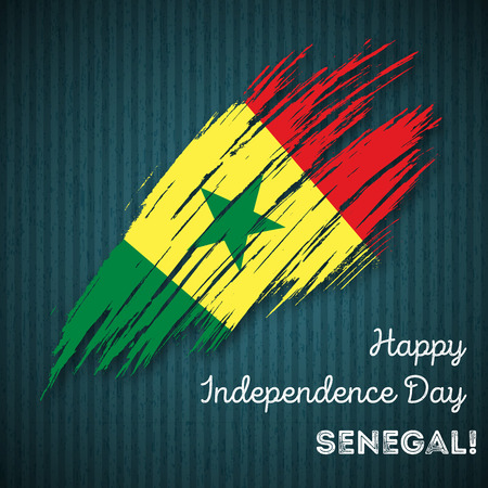 Senegal Independence Day Patriotic Design. Expressive Brush Stroke in National Flag Colors on dark striped background. Happy Independence Day Senegal Vector Greeting Card. Illustration