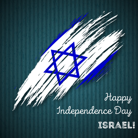 Israel Independence Day Patriotic Design. Expressive Brush Stroke in National Flag Colors on dark striped background. Happy Independence Day Israel Vector Greeting Card.