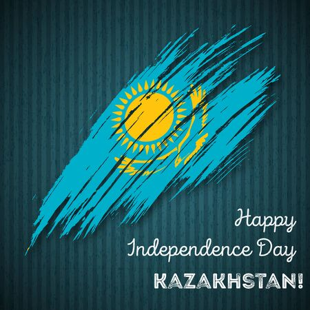 Kazakhstan Independence Day Patriotic Design. Expressive Brush Stroke in National Flag Colors on dark striped background. Happy Independence Day Kazakhstan Vector Greeting Card.