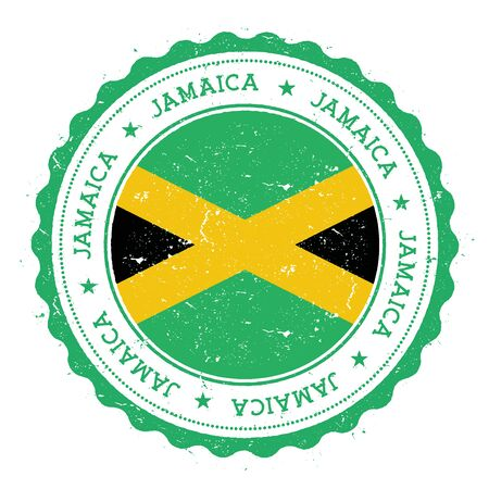 Grunge rubber stamp with Jamaica flag. Vintage travel stamp with circular text, stars and national flag inside it. Vector illustration.