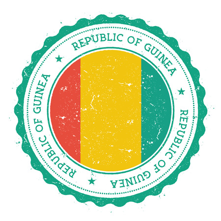 Grunge rubber stamp with Guinea flag. Vintage travel stamp with circular text, stars and national flag inside it. Vector illustration.