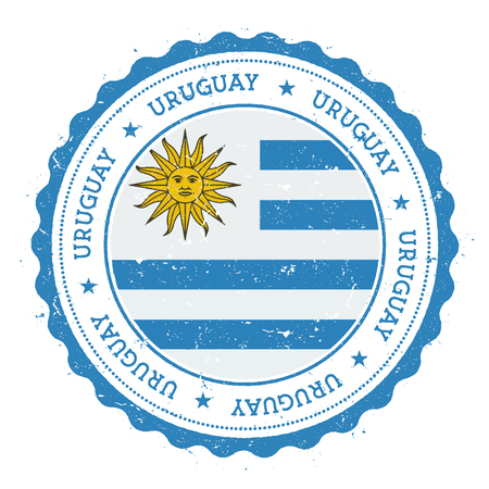 Grunge rubber stamp with Uruguay flag. Vintage travel stamp with circular text, stars and national flag inside it. Vector illustration. Ilustração
