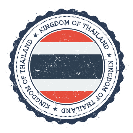 Grunge rubber stamp with Thailand flag. Vintage travel stamp with circular text, stars and national flag inside it. Vector illustration.