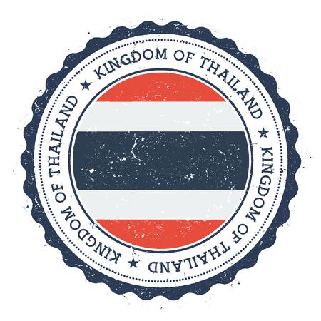 Timbro di gomma grunge con bandiera della Thailandia. Timbro di viaggio d'epoca con testo circolare, stelle e bandiera nazionale al suo interno. Illustrazione vettoriale Archivio Fotografico - 84431411