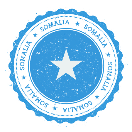 Grunge rubber stamp with Somalia flag. Vintage travel stamp with circular text, stars and national flag inside it. Vector illustration.