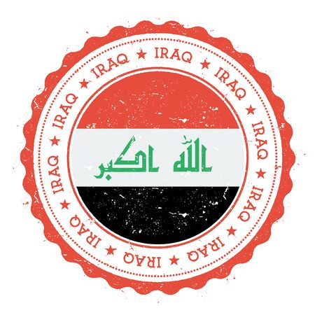 Grunge rubber stamp with Iraq flag. Vintage travel stamp with circular text, stars and national flag inside it. Vector illustration.