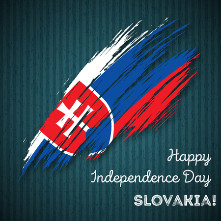 Slovakia Independence Day Patriotic Design. Expressive Brush Stroke in National Flag Colors on dark striped background. Happy Independence Day Slovakia Vector Greeting Card. Illustration