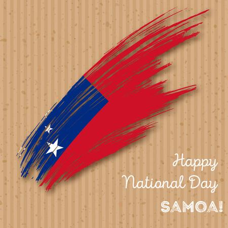 Samoa Independence Day Patriotic Design. Expressive Brush Stroke in National Flag Colors on kraft paper background. Happy Independence Day Samoa Vector Greeting Card. Illustration