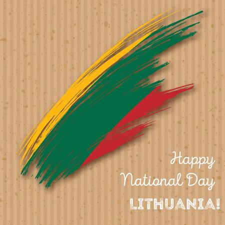 Lithuania Independence Day Patriotic Design. Expressive Brush Stroke in National Flag Colors on kraft paper background. Happy Independence Day Lithuania Vector Greeting Card.
