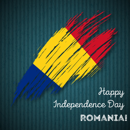 rom: Romania Independence Day Patriotic Design. Expressive Brush Stroke in National Flag Colors on dark striped background. Happy Independence Day Romania Vector Greeting Card.