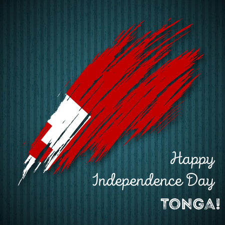 Tonga Independence Day Patriotic Design. Expressive Brush Stroke in National Flag Colors on dark striped background. Happy Independence Day Tonga Vector Greeting Card. Illustration