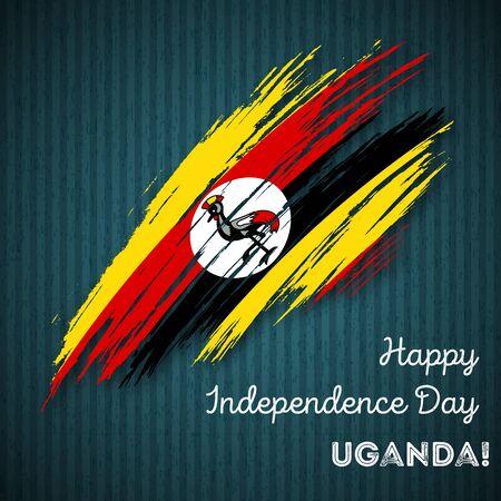Oeganda Onafhankelijkheidsdag Patriottisch Ontwerp. Expressieve penseelstreek in nationale vlagkleuren op donkere gestreepte achtergrond. Happy Independence Day Vector wenskaart Oeganda. Vector Illustratie