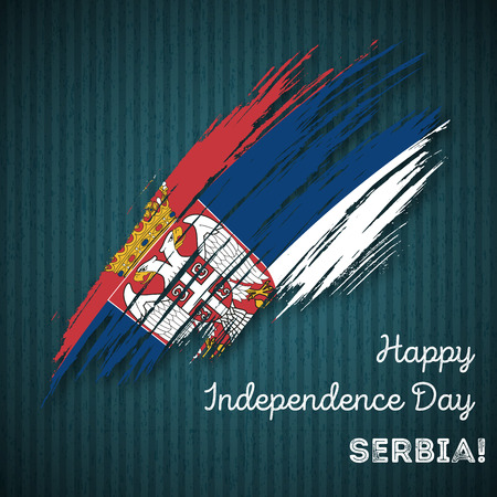 Serbia Independence Day Patriotic Design. Expressive Brush Stroke in National Flag Colors on dark striped background. Happy Independence Day Serbia Vector Greeting Card. Illustration