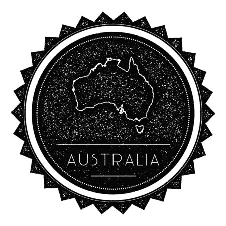 oceania: Australia Map Label with Retro Vintage Styled Design. Illustration