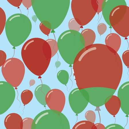 Belarus National Day Flat Seamless Pattern. Flying Celebration Balloons in Colors of Belarusian Flag. Happy Independence Day Background with Flags and Balloons.