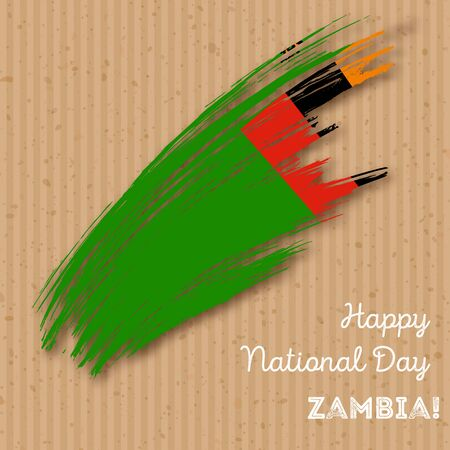 Zambia Independence Day Patriotic Design. Expressive Brush Stroke in National Flag Colors on kraft paper background. Happy Independence Day Zambia Vector Greeting Card. Illustration