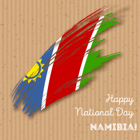 Namibia Independence Day Patriotic Design. Expressive Brush Stroke in National Flag Colors on kraft paper background. Happy Independence Day Namibia Vector Greeting Card.