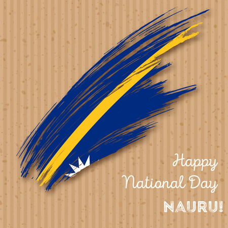 Nauru Independence Day Patriotic Design. Expressive Brush Stroke in National Flag Colors on kraft paper background. Happy Independence Day Nauru Vector Greeting Card. Illustration