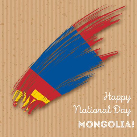 Mongolia Independence Day Patriotic Design. Expressive Brush Stroke in National Flag Colors on kraft paper background. Happy Independence Day Mongolia Vector Greeting Card.