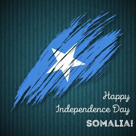 Somalia Independence Day Patriotic Design. Expressive Brush Stroke in National Flag Colors on dark striped background. Happy Independence Day Somalia Vector Greeting Card. Illustration