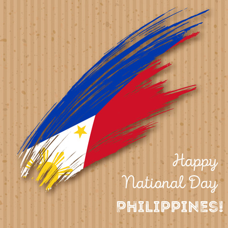 Philippines Independence Day Patriotic Design. Expressive Brush Stroke in National Flag Colors on kraft paper background. Happy Independence Day Philippines Vector Greeting Card.